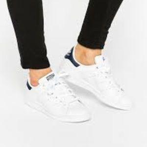 Adidas Stan Smith Women White Blue Sz 9.5 EUC